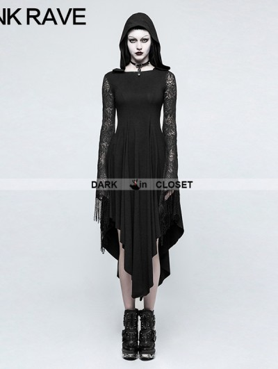 Punk Rave Black Gothic Dress with Back Spider Net