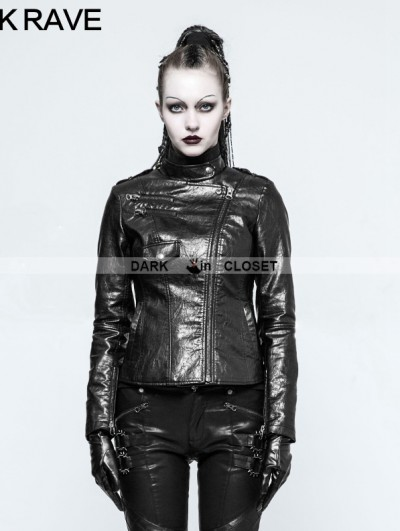 Punk Rave Black Gothic Punk PU Leather Short Jacket for Women