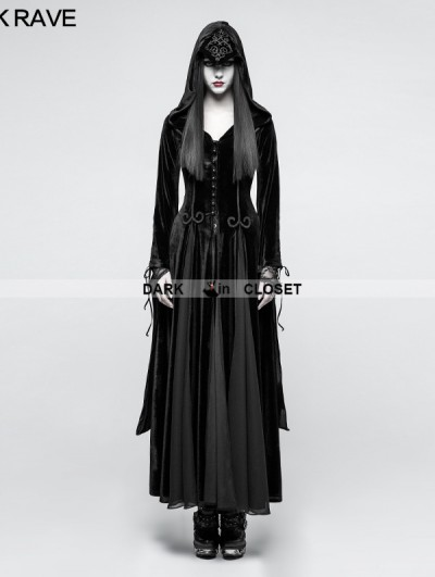 Punk Rave Black Gothic Dark Goddess Long coat for Women