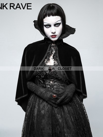 Punk Rave Black Gothic Positioning Necktie Cloak for Women