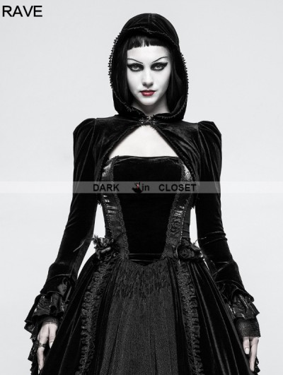 Punk Rave Black Gothic Velvet Short Jacket for Women