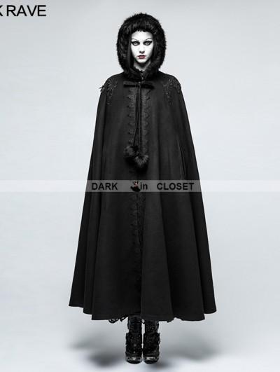 Punk Rave Black Winter Gothic Long Fur Cloak for Women