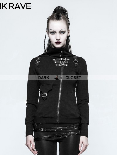 Punk Rave Black Gothic Punk Slim Sweater With Hood