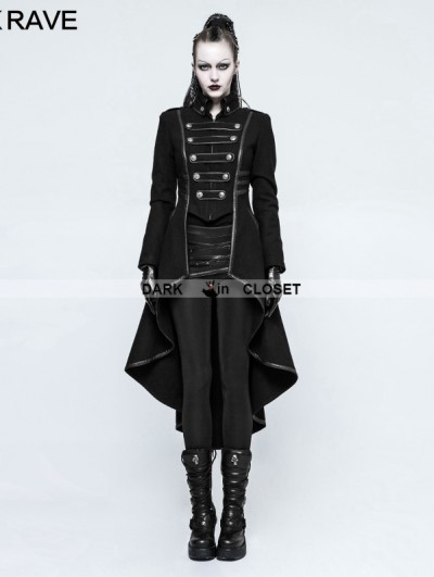 Punk Rave Black Gothic Military Uniform Worsted Long Coat for Women
