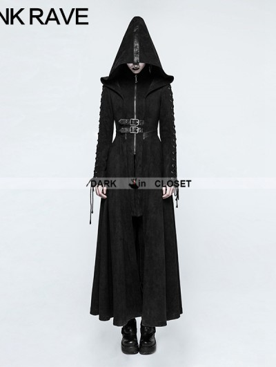 Punk Rave Black Gothic Dark Angel Long Coat for Women