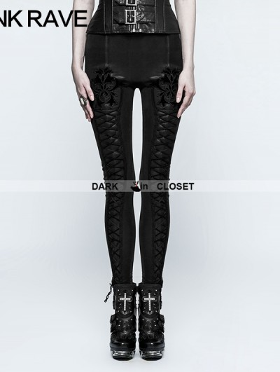 Punk Rave Black Gothic Tie Rope Thickened Leggings for Women