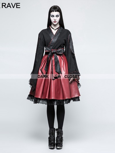 Punk Rave Black Gothic Lolita Black Hakama Kimono