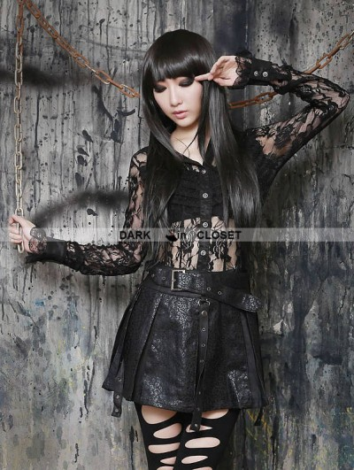 Pentagramme Black Gothic Sexy Semitransparent Lace Shirt for Women