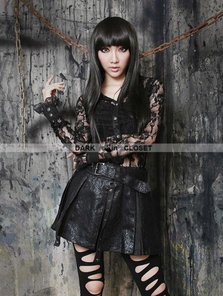 Pentagramme Black Gothic Sexy Semitransparent Lace Shirt