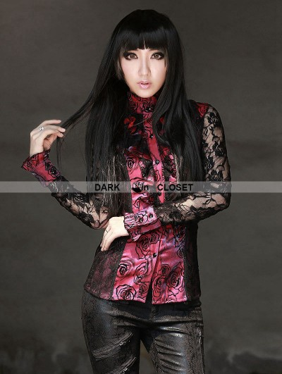 Pentagramme Black and Red Rose Pattern Gothic Long Lace Sleeves Blouse for women