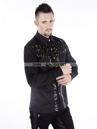 Pentagramme Black Gothic Punk Long Sleeves Blouse for Men