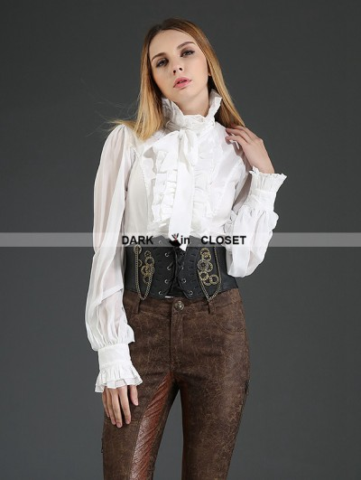 Pentagramme White Palace Style Chiffon Blouse for Women