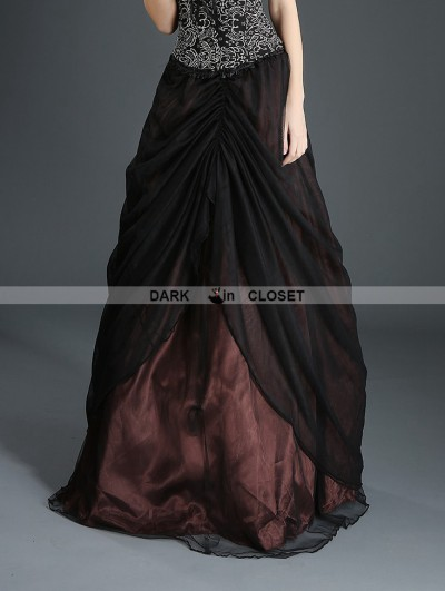 Pentagramme Black and Coffee Organza Gothic Long Skirt