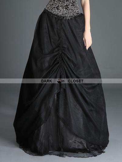 Pentagramme Black Organza Gothic Long Skirt