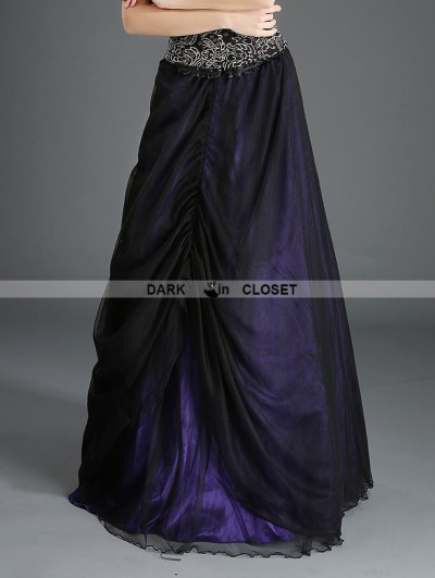 Pentagramme Black and Purple Organza Gothic Long Skirt