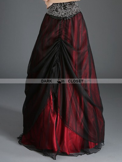 Pentagramme Black and Red Organza Gothic Long Skirt