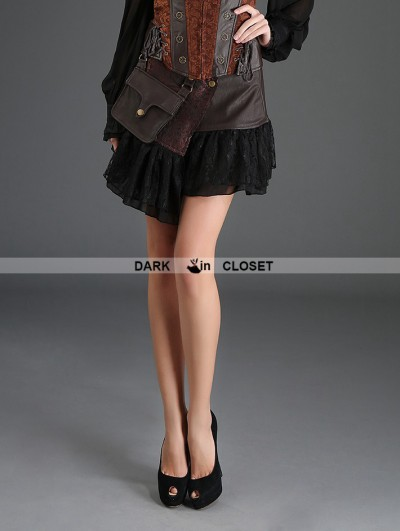 Pentagramme Coffee Steampunk Short PU Skirt with Pocket Bag