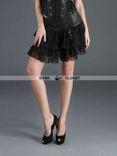Pentagramme Black Gothic Punk Chiffon and PU Leather Short Skirt