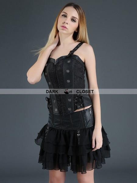 Pentagramme Black Gothic Punk Chiffon And Pu Leather Short