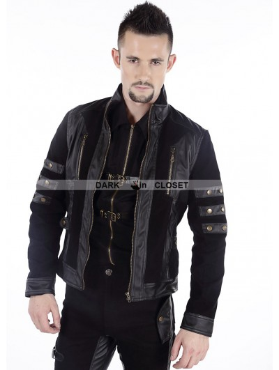Pentagramme Black Gothic Punk Short Leather Jacket for Men