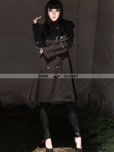 Pentagramme Black Gothic Hoodie Long Coat for Women