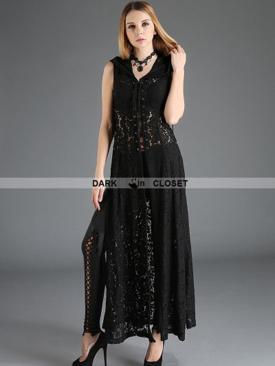 Pentagramme Black Gothic Lace Sleeveless Long Hoodie Outfit for Women