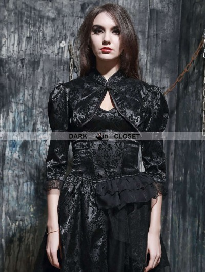 Pentagramme Black Gothic Chinese Style Bubble Sleeves Short Cape