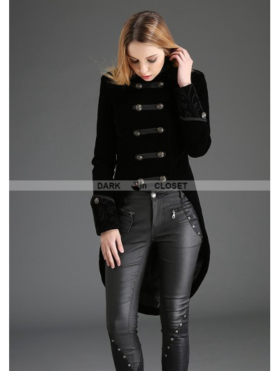 Pentagramme Black Swallow Tail Double-Breasted Gothic Coat for Women