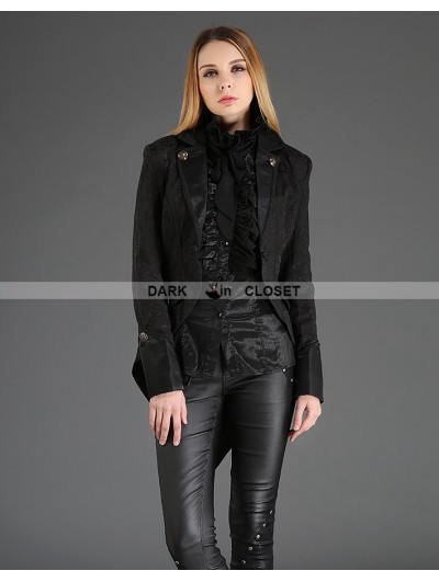 Pentagramme Black Vintage Gothic Dovetail Jacket for Women