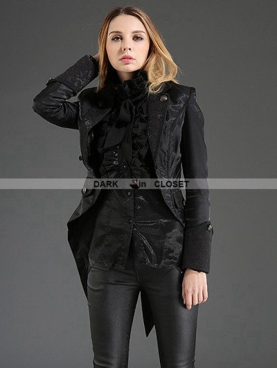 Pentagramme Black Gothic Dovetail Jacket for Women