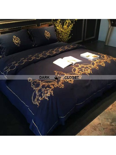 Blue Gothic Vintage Palace Embroidery Comforter Set 0001