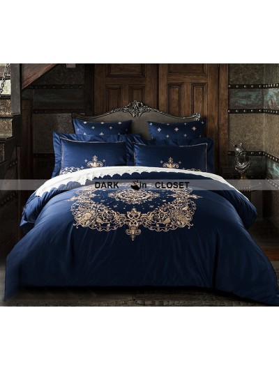 Blue Gothic Vintage Palace Embroidery Comforter Set 0002