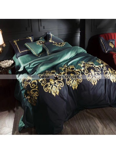 Green Gothic Vintage Palace Embroidery Comforter Set 0003