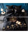 Black Gothic Vintage Palace Embroidery Comforter Set 0004