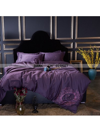 Purple Gothic Vintage Palace Embroidery Comforter Set 0005
