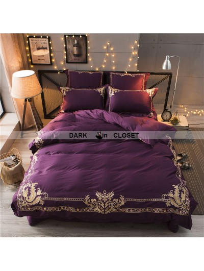 Purple Gothic Vintage Palace Embroidery Comforter Set 0006