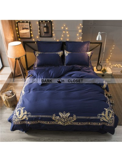 Blue Gothic Vintage Palace Embroidery Comforter Set 0007