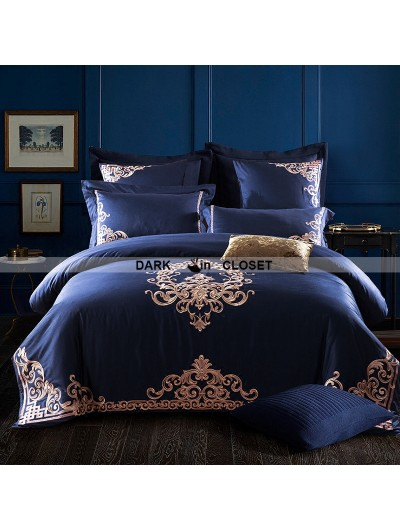 Blue Gothic Vintage Palace Embroidery Comforter Set 0008