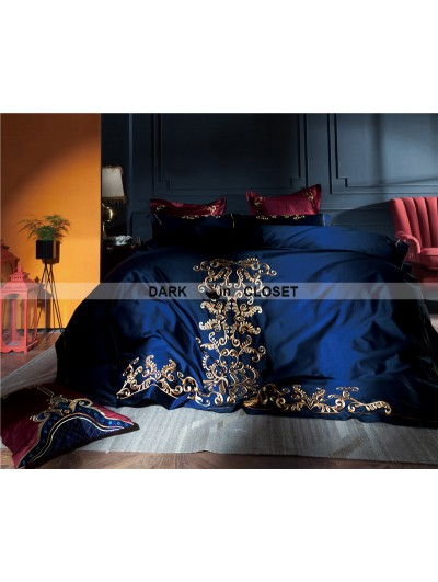 Blue Gothic Vintage Palace Embroidery Comforter Set 0009