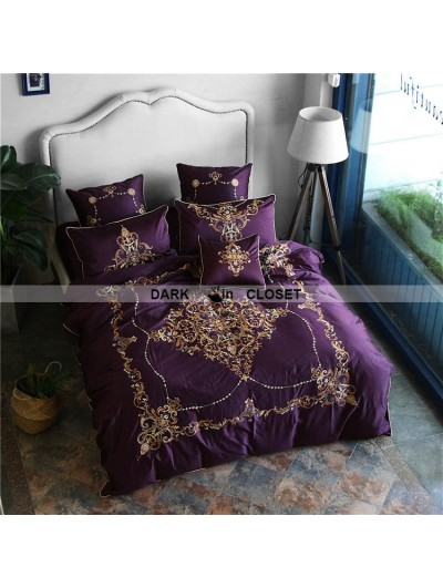Purple Gothic Vintage Palace Embroidery Comforter Set 0010