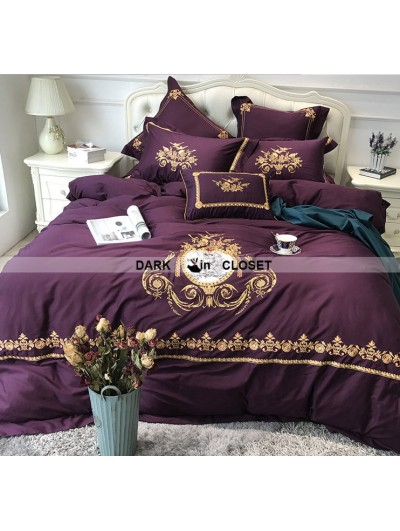 Purple Gothic Vintage Palace Embroidery Comforter Set 0011