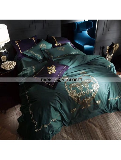 Green Gothic Vintage Palace Embroidery Comforter Set 0012