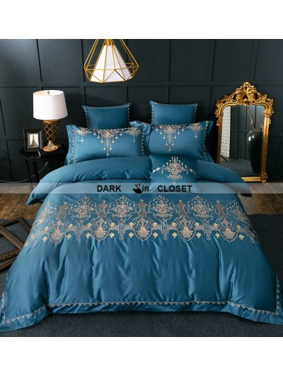 Blue Gothic Vintage Palace Embroidery Comforter Set 0018