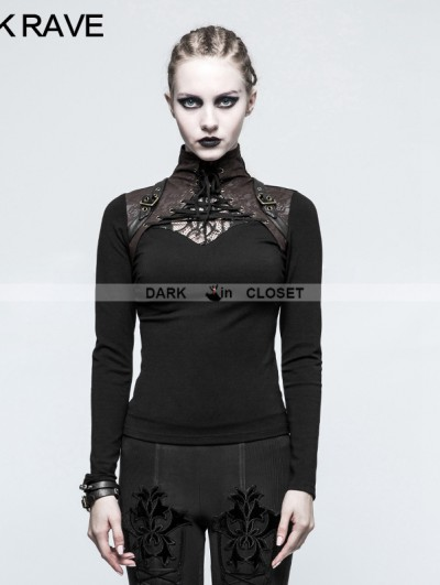 Punk Rave Black Steampunk High Collar Long Sleeves T-Shirt for Women