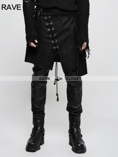 Punk Rave Black Gothic Punk Irregular Suede Skirt for Men