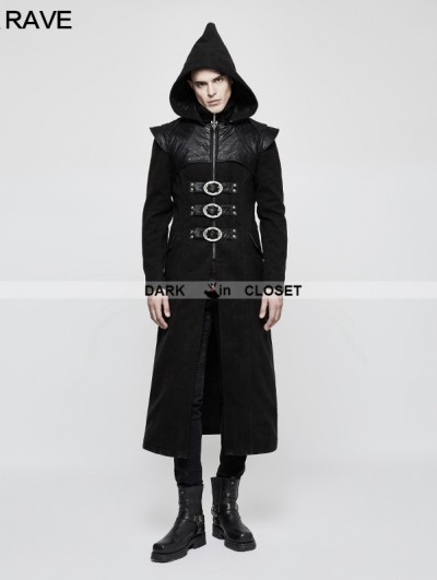 Punk Rave Black Gothic Armor PU Leather Long Hooded Coat for Men