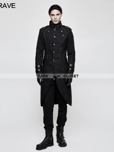 Punk Rave Black Gothic Military Uniform Style Worsted Jacket for Men