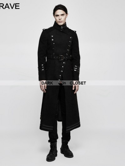 Punk Rave Black Gothic Military Uniform Worsted Jacket for Men