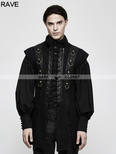 Punk Rave Black Gothic Punk Armor Style Vest for Men