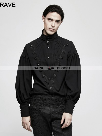 Punk Rave Black Gothic Gorgeous Disc Floret Long Sleeves Shirt for Men